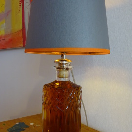 Burbon Whiskey Karaffe, Kristallglas, alt, antik, carafe crystal, old, antique, Lampe, Nachhaltigkeit, Unikat unique lamp light lighting Beleuchtung